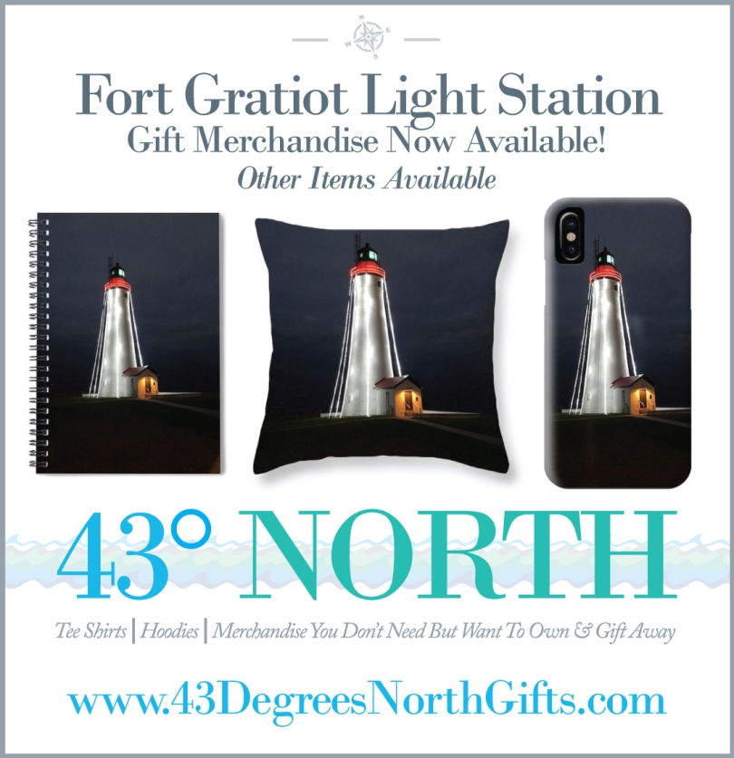 3625 x 375 ad--43 degrees north gifts--fort gratiot lighthouse gifts